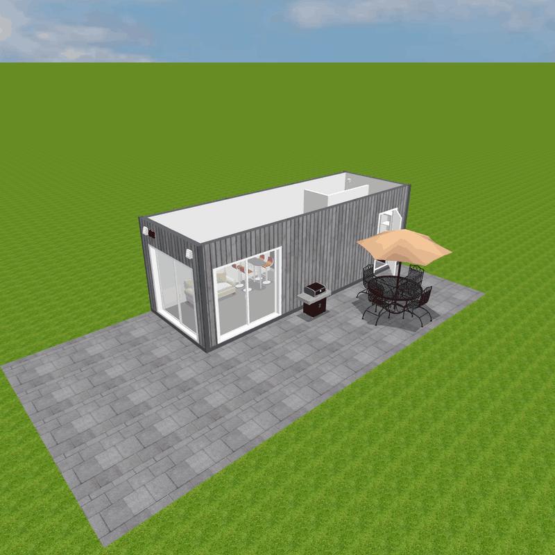 Domek z kontenera z dużymi oknami