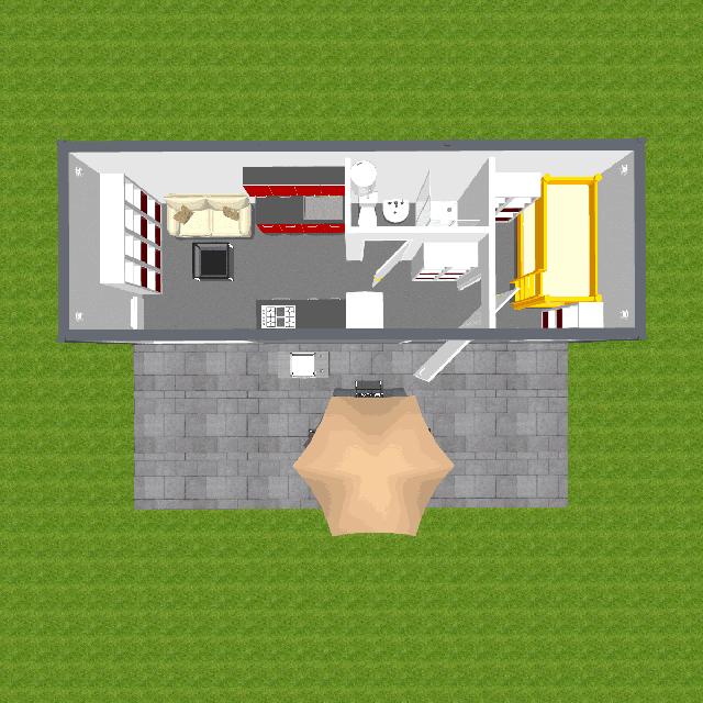 Widok z góry projektu 20m2 z małą sypialnią idelany dla gości lub jako obiekt hotelowy
