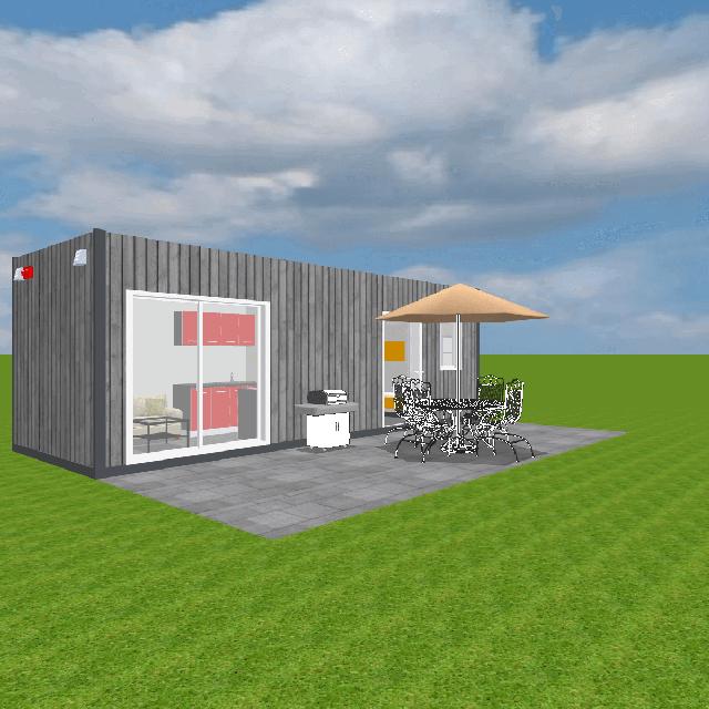 Projekt jednomodułowego domku z małą sypialnią, łazienką i aneksem kuchennym, perfekcyjny obiekt hotelowy