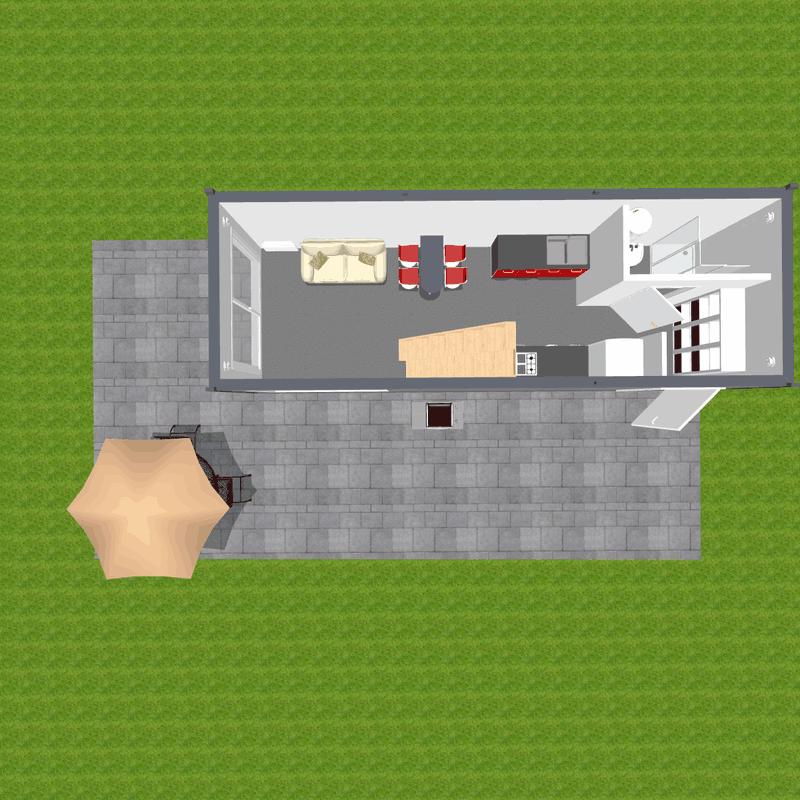 Dwupiętrowy dom widok parteru z łazienką i aneksem kuchennym