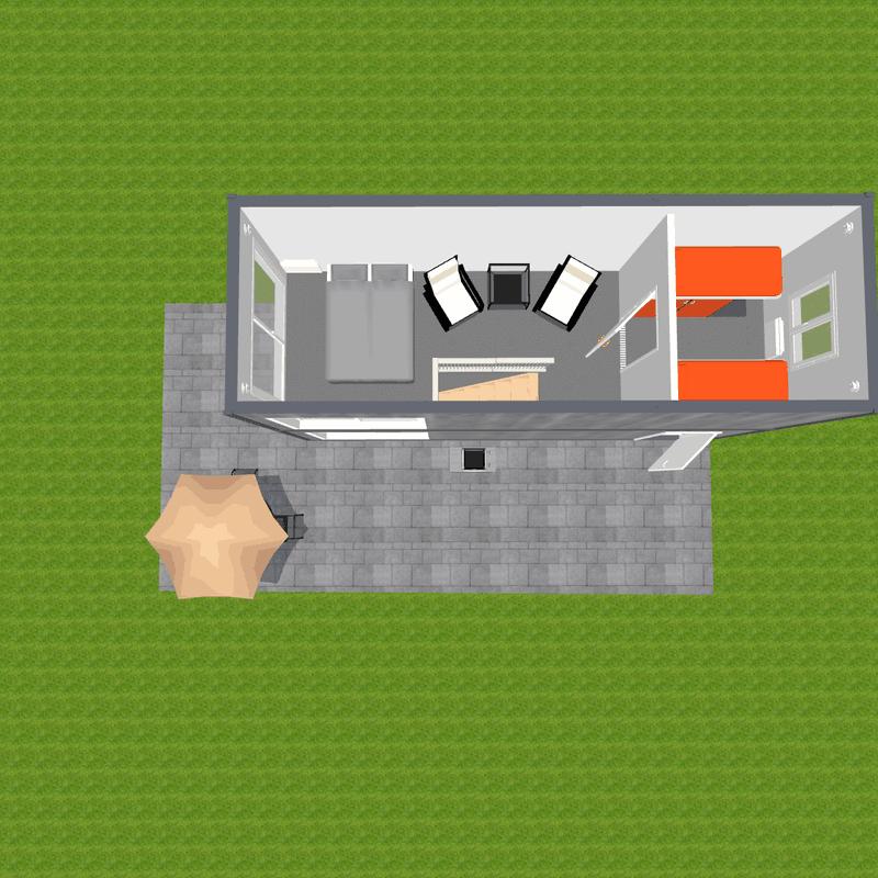 Widok z góry piętra domu na małą działkę
