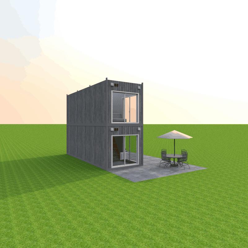 Dwupiętrowy dom z dwóch modułow
