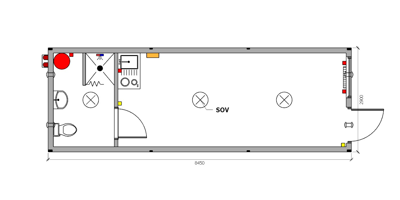 moduł kontenerowy z zapleczem socjalnym i WC
